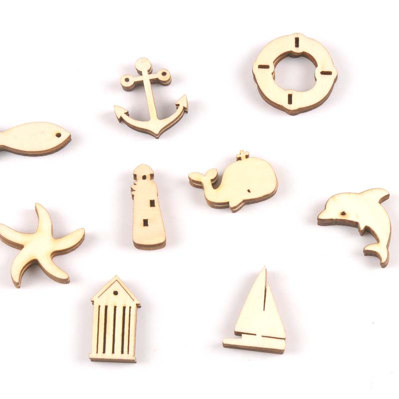 27-31mm Mixed Wooden Ornament Dolphin/starfish/whale/anchor/sailboat Pattern Wood For Scrapbook DIY Carft Home Decor 20pcs M2153