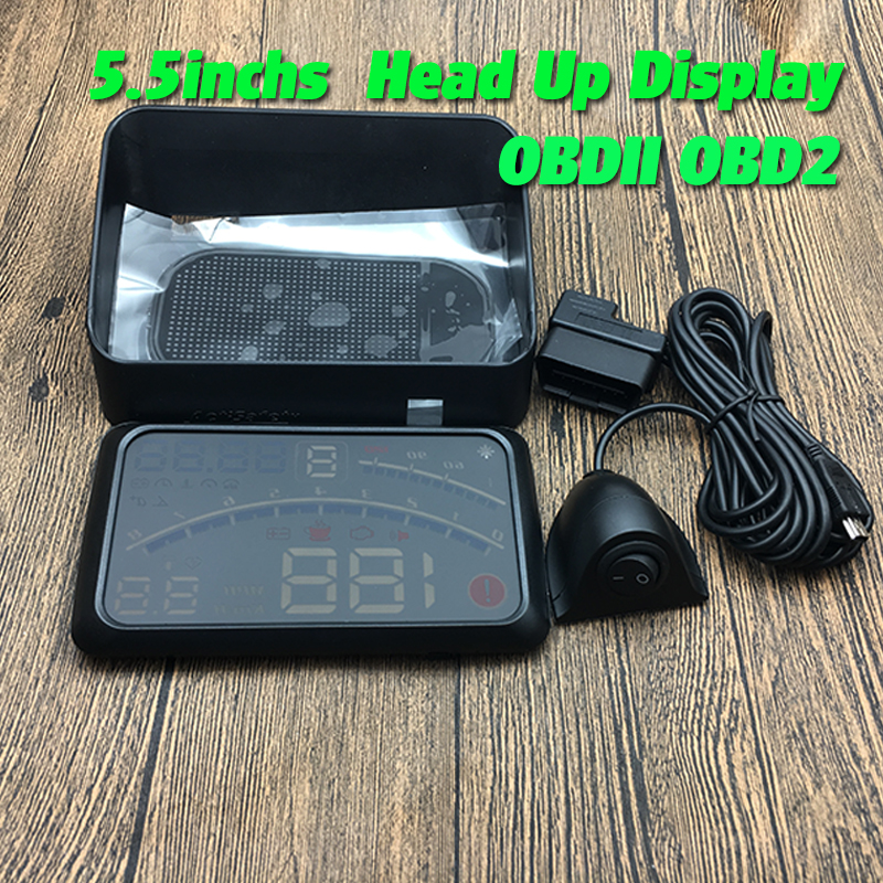 цена на OBDII OBD2 5.5 HUD Car Head Up Display LED Windscreen Projector for bmw benz vw audi Ford Kia Hyundai Nissan VW toyota Mazda