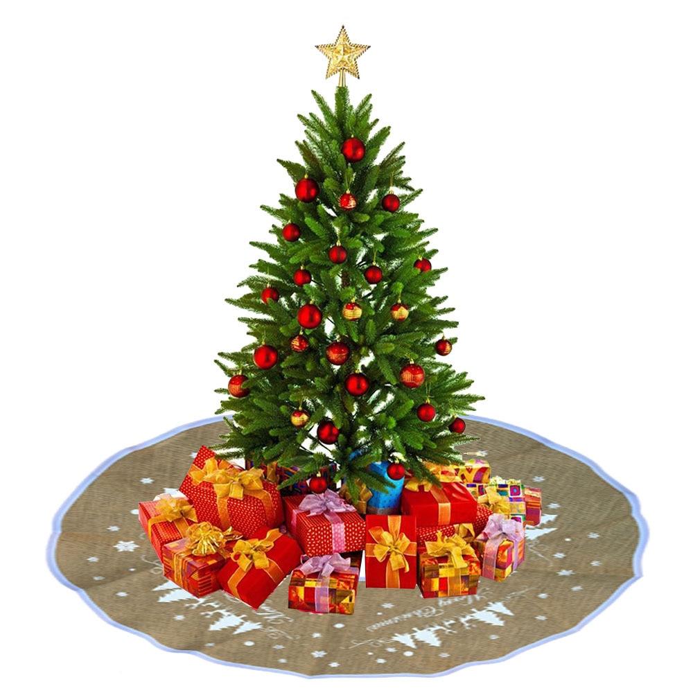 Linen Christmas Tree Skirt: 1pc Christmas Tree Skirt Christmas Decorations Linen