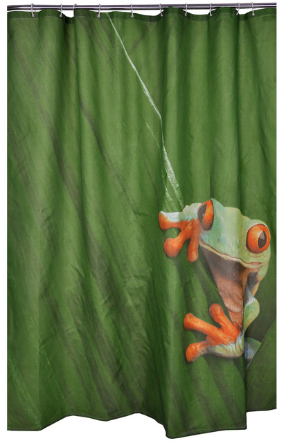 Bathroom Products 100Polyester Fabric Green Frog Waterproof Shower Curtains Liner Machine Washable Bath 7272