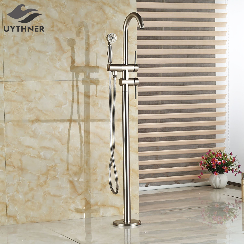 Uythner Floor Mounted Brushed Nickel Bathroom Tub Faucet Tub Filler Free Standing Faucet
