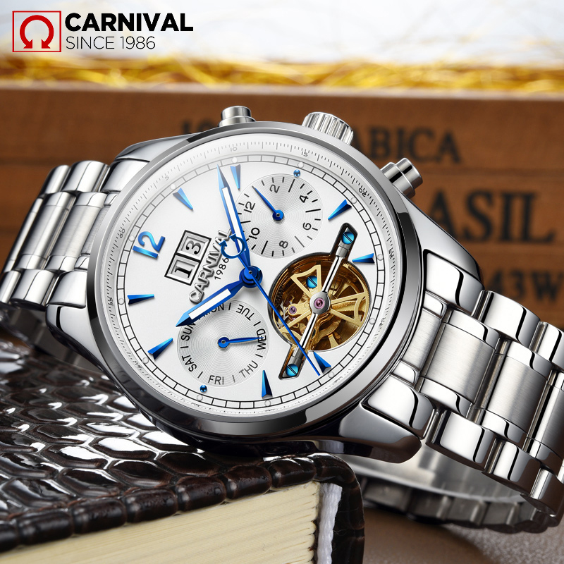 TopBrand CARNIVAL Luxury Men's Skeleton Business Casual Watch Tourbillon Multifunktion Vattentät Mekanisk relogio masculino
