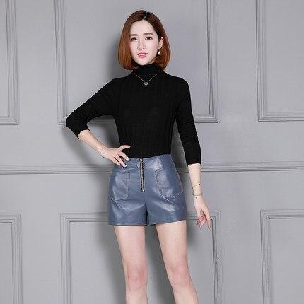 Black Oveja Alta Pantalones Nuevo Cortos Cuero Cintura K25 De blue 2019 Mujeres xZwpqO