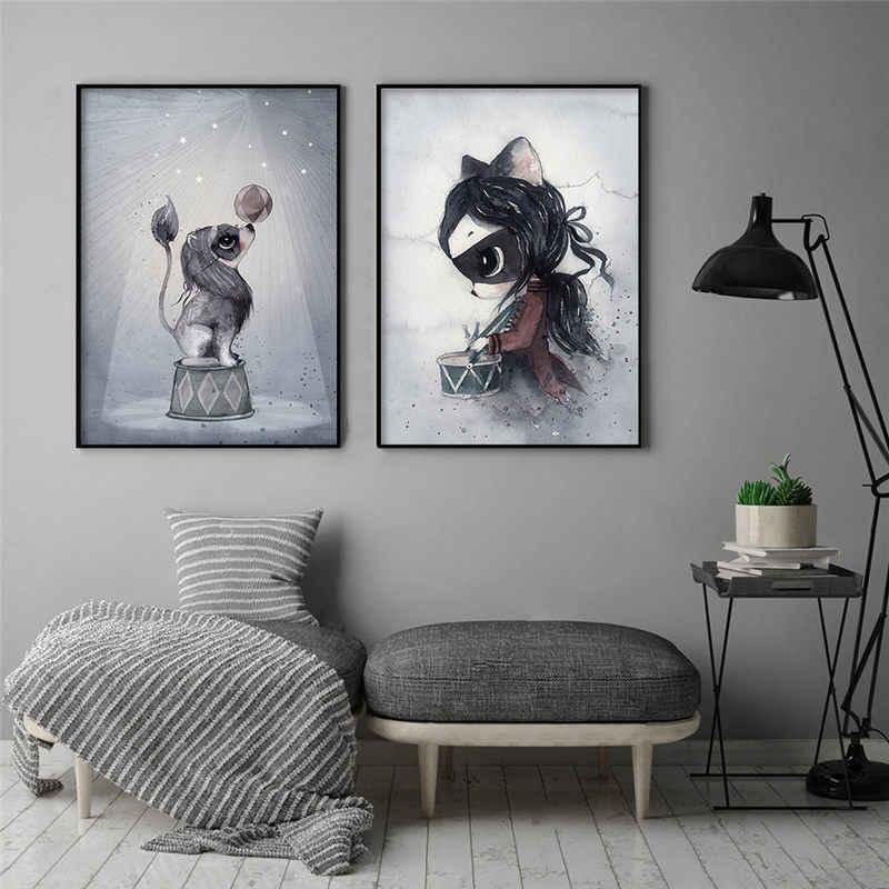 Скандинавский кролика для мальчиков и девочек живопись на холсте, мультфильмы Ангел украшения картин для маленьких детская комната настенные фрески