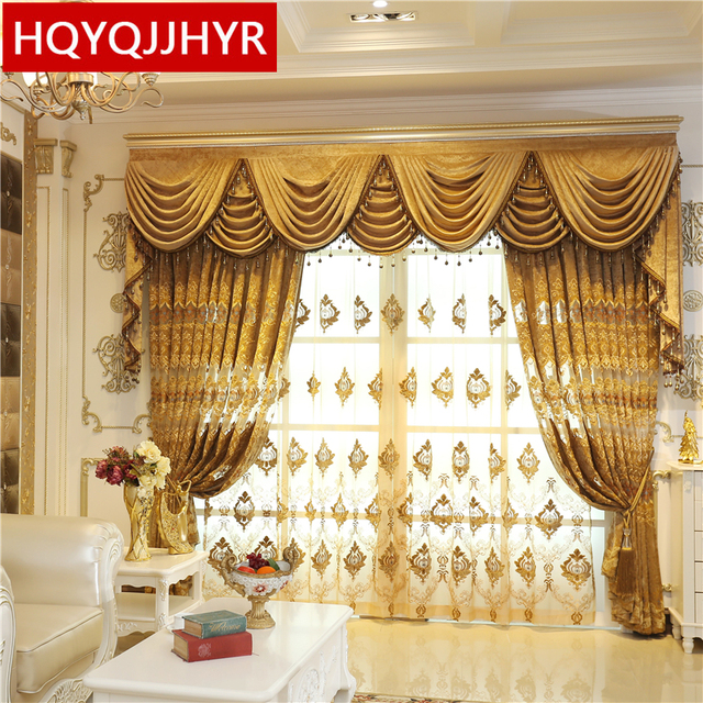 Royal Aristocratic High End Custom Brown Embroidered Decorative Curtains For Living Room European Luxury