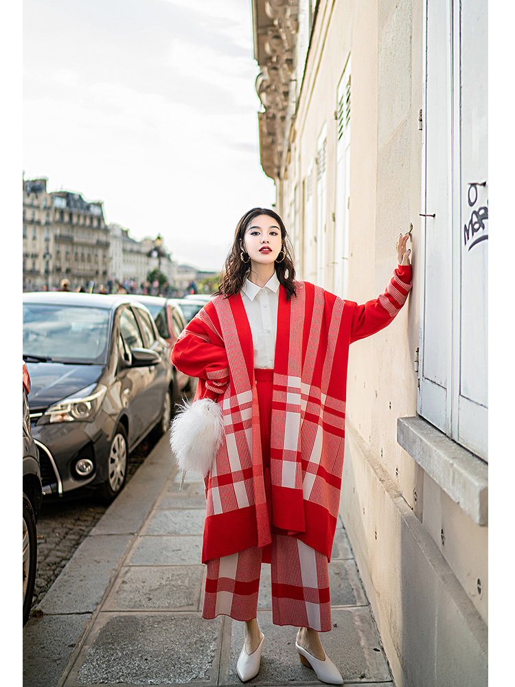 Chauve Camel En Plaided Vêtements Plage À Col White Nouvelle Mode Bas Ensemble And Pantalon Manches Tricoter Écharpe Wc25303m souris Large Shanghai Rouge red 2019 wCRfqA7xa