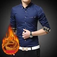 Mens Long Sleeve Shirts Plus Size 5XL Winter 2016 New Arrival Fashion Korean Clothes Solid Warm