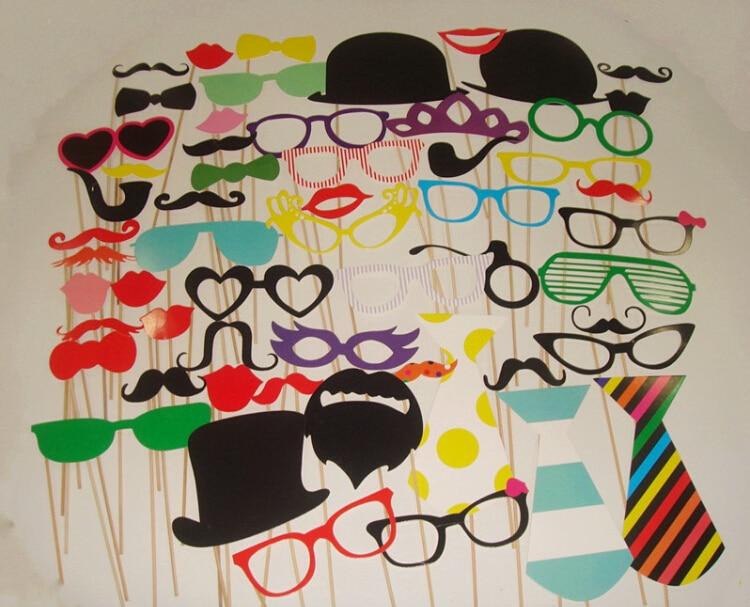 Retail 3set / lot 58 Jiný styl součástí roztomilý DIY foto rekvizity klobouk brýle knír lip party dekorace