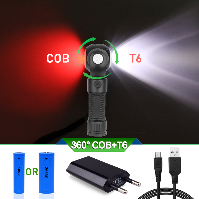 COB LED Military Torch USB Charge Tail with Magnet 360° Rotating Flashlight T6