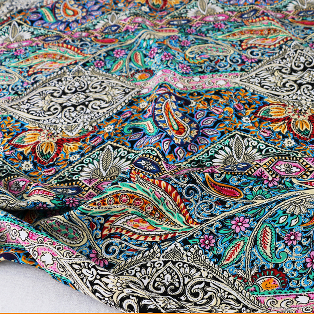Sold by meter ethnic paisley dress cotton material for Fabric material for sale