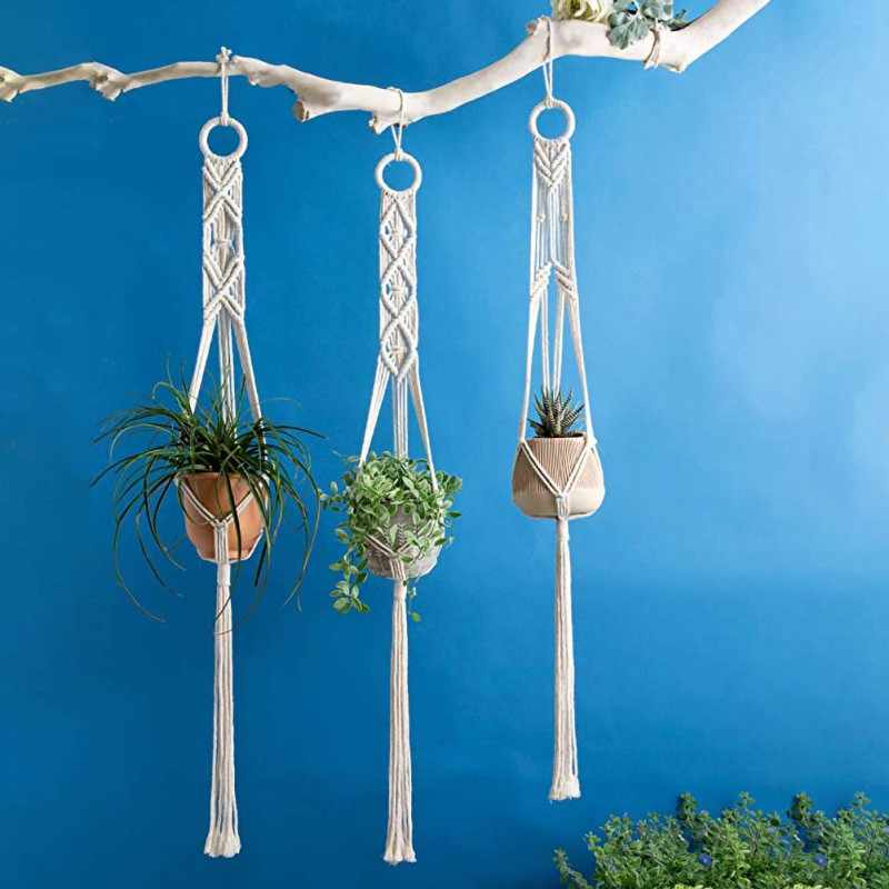 Household Knotted Macrame Plant Hanger Flowerpot Basket Lifting Rope Hanging Basket Pot Holder Handmade Garden Tools