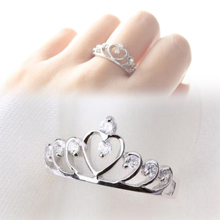 Trendy Rhinestones Inlaid Hollow Out Heart Crown Shaped Gold Silver Plated Woman Ring