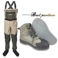 Нахлыстом одежда и обувь Aqua кроссовки болотных Костюмы комплект дышащая рок 12 гвозди чувствовал подошва ботинки болотные штаны FXMD1