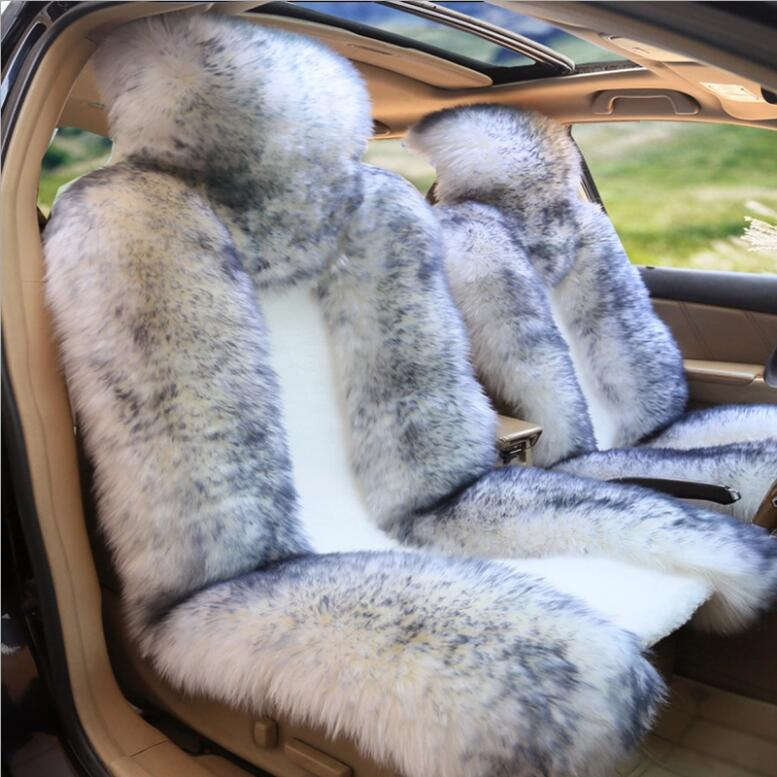 >High Quality Australian Wool <font><b>Car</b></font> <font><b>Seat</b></font> Cover Fur Pulvinis Winter Warm Natural Wool <font><b>Seat</b></font> Cushion 1 Piece Front <font><b>Car</b></font> <font><b>Seat</b></font> Cover