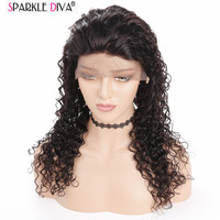 Sparkle Diva Brazilian Remy Human Hair Deep Wave Full Lace Wig Medium Brown Full Swiss Lace Hand Tied Made With Hairline