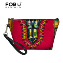 FORUDESIGNS Cosmetic Cases Women African Traditional Printing Make Up Bags Ladies Portable Travel Wash Kit Bag Females Sac A Dos