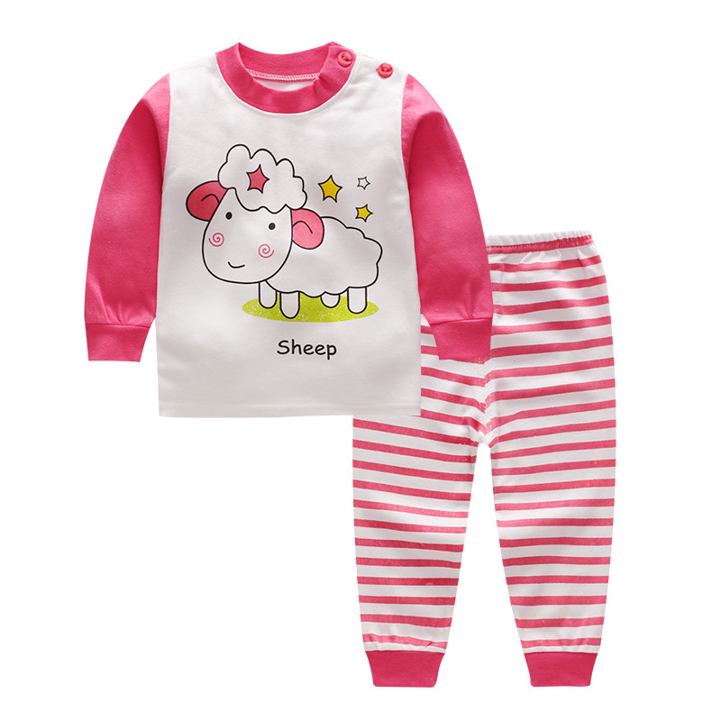Baby Clothing Sets Kids Newborn Baby Boys Girls Long Sleeve Cartoon T-shirt + Striped Pants Infant Clothes Outfits Sets 0-24M new toddler newborn baby boys warm long sleeve wild boy t shirt tops plaids pants leggings outfits autumn 2pcs set clothes 0 24m