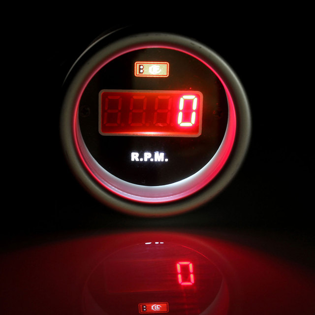 "Tachometer RPM Gauge 52mm 2""  Red Digital 12V Rev Counter Display LED With Bracket"