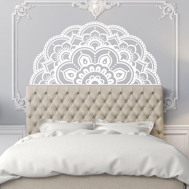Half Mandala Wall Decals - Headboard Master Vinyl for Bedroom Art Boho Bohemian MT43