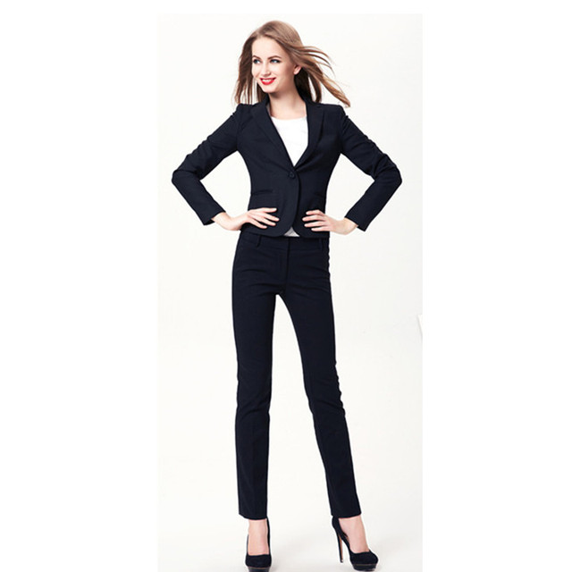 fe120e2a2f6 Women Evening Pant Suits New Plus Size Fall Winter Professional Business  Work Wear Office Women Suits Elegant Navy Pants Suit