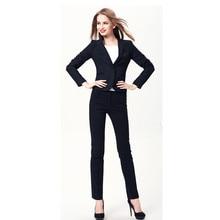 Women Evening Pant Suits New Plus Size Fall Winter Professional Business Work Wear Office Women Suits Elegant Navy Pants Suit