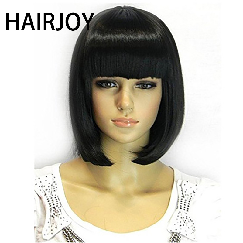 HAIRJOY Straight Black Synthetic Wigs Full Bangs For Women Medium Length Hair Bob Wig Heat Resistant Bobo Hairstyle Cosplay Wigs