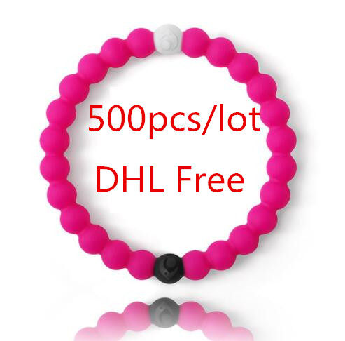 500pcs/lot DHL Free best selling shark neon red pink colors lokai bracelets S M L XL sizes in stocks