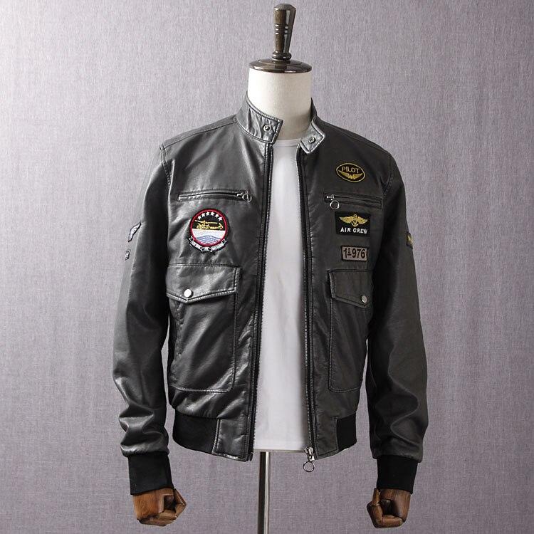 VogaIn 2016 New Autumn WInter MAN Grey Faux Leather Biker Bomber Jacket Patch design Pilot Short Jackets Stand Collar pockets
