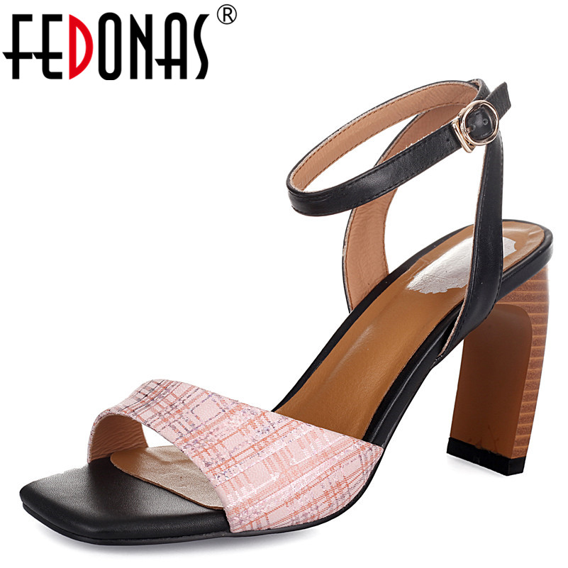 цены FEDONAS Woman Party Ankle Strap Summer Sandals Saladiator Chunky High Heels Ladies Pumps Women Genuine Leather Shoes Woman