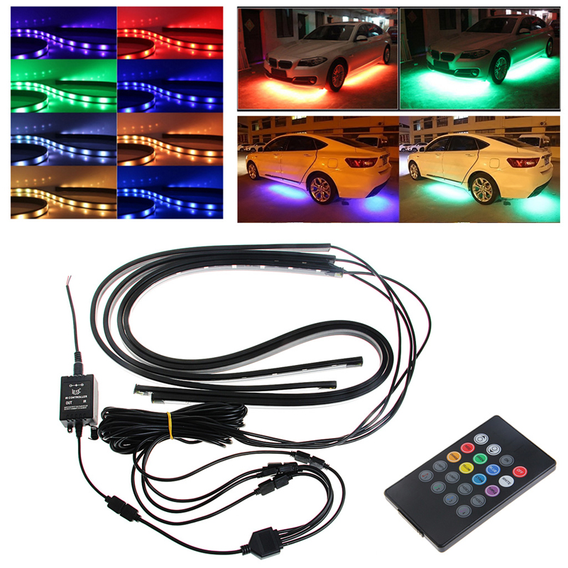 Lovely 4x Waterproof Rgb Smd Flexible Led Strip Under Car Tube Underglow Underbody System Neon Light Kit With Remote Control Qiang Automobiles & Motorcycles