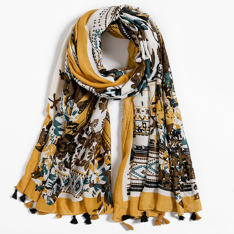 Hot 2019 Women Autumn African Floral Tassel Viscose Scarf Luxury Brand Shawls And Wraps Soft Warm Cover-Up Muslim Hijab 180*90Cm
