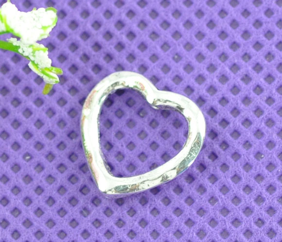 50 Silver Tone Love Heart Bead Frames 14x14mm Findings Spirited Doreen Box Hot b07788 And Digestion Helping