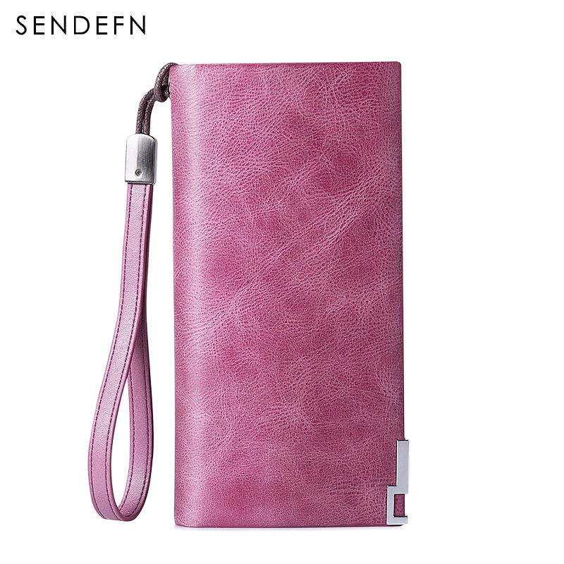 Sendefn vintage genuine leather women wallets brand long lady clutch purse card holder phone wallet cossroll brand women wallets genuine leather long thin purse clutches bags cards holder zipper phone pocket lady party wallet