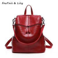 FoxTail Lily Korean Style Fashion Rivets Backpack Women Leather Shoulder Bags Large Capacity School Backpacks For