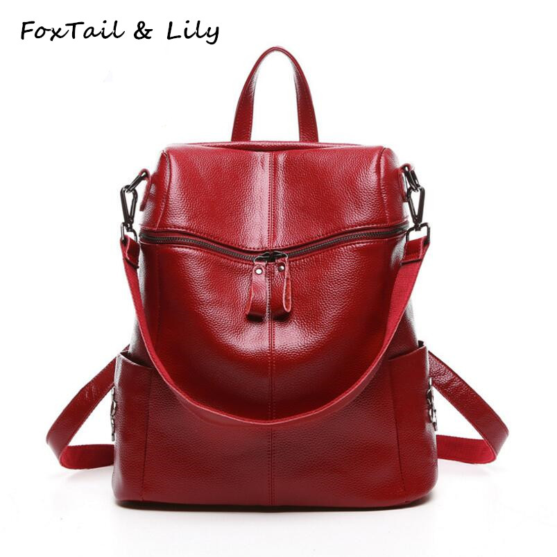 FoxTail & Lily Korean Style Fashion Rivets Backpack Women Genuine Leather Shoulder Bag Large Capacity School Backpacks for Girls cool walk backpack women s backpack shoulder bag leather bag sheepskin bag rivets decoration fashion young women backpack punk