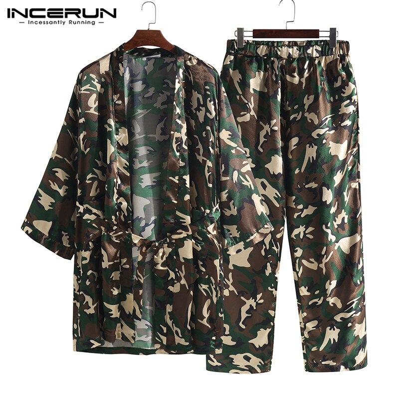 INCERUN Men's Elastic Waist Stain Jacquard Camouflage Print Lounge Pants Long Sport Pants Loose Men Leisure Trousers Pajamas 5XL