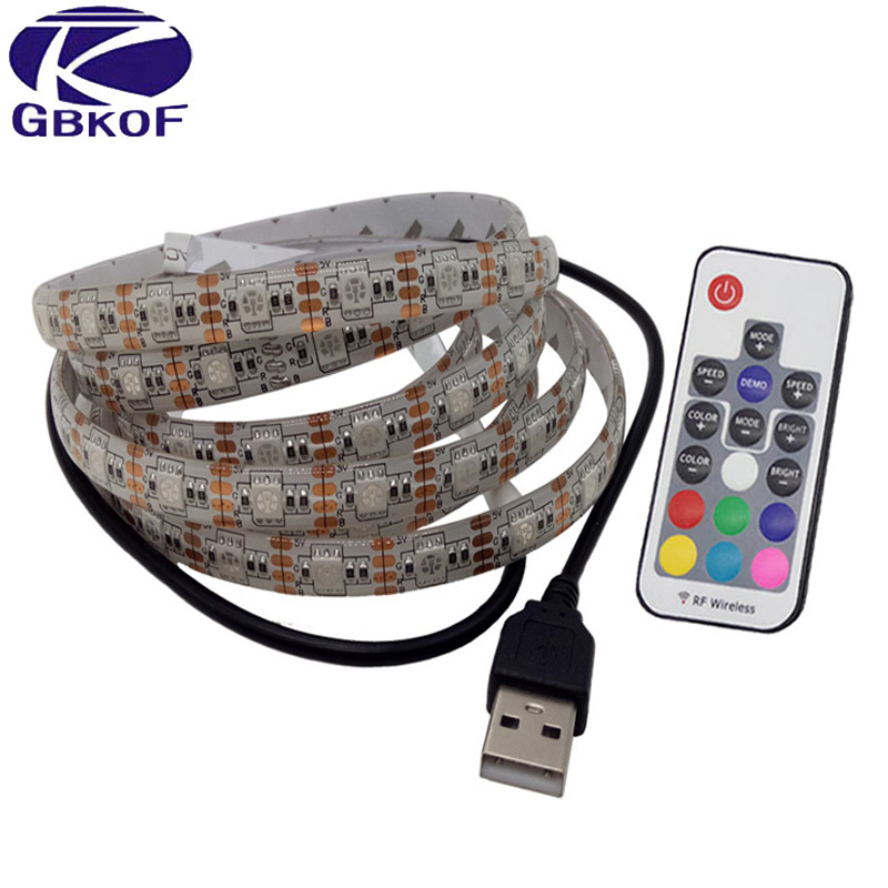 GBKOF Waterproof DC 5V USB LED strip 5050 3528 RGB Flexible Light Lamp LED Light TV Background Lighting Adhesive Tape 50CM 1M 2M