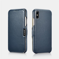 ICARER Luxury Curved Genuine Leather Metal Magnetic Flip Case For iPhone X XS XR Xs Max Shell Accessories Phone Cover Coque
