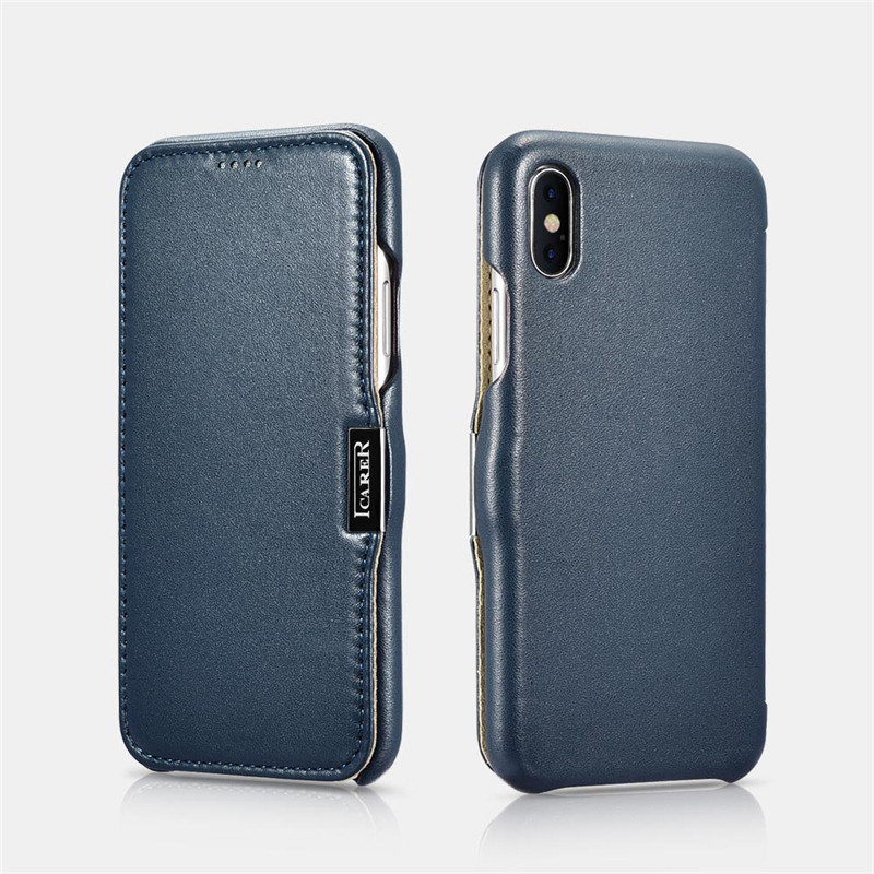 ICARER Luxury Curved Genuine Leather Metal Magnetic Flip Case For iPhone X XS XR Xs Max Shell Accessories Phone Cover CoqueICARER Luxury Curved Genuine Leather Metal Magnetic Flip Case For iPhone X XS XR Xs Max Shell Accessories Phone Cover Coque