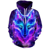 Space Galaxy Wolf Hoodie Hoodies Men Women Newest Fashion Spring Autumn Pullover Sweatshirts Sweat Homme 3D Tracksuit 7XL