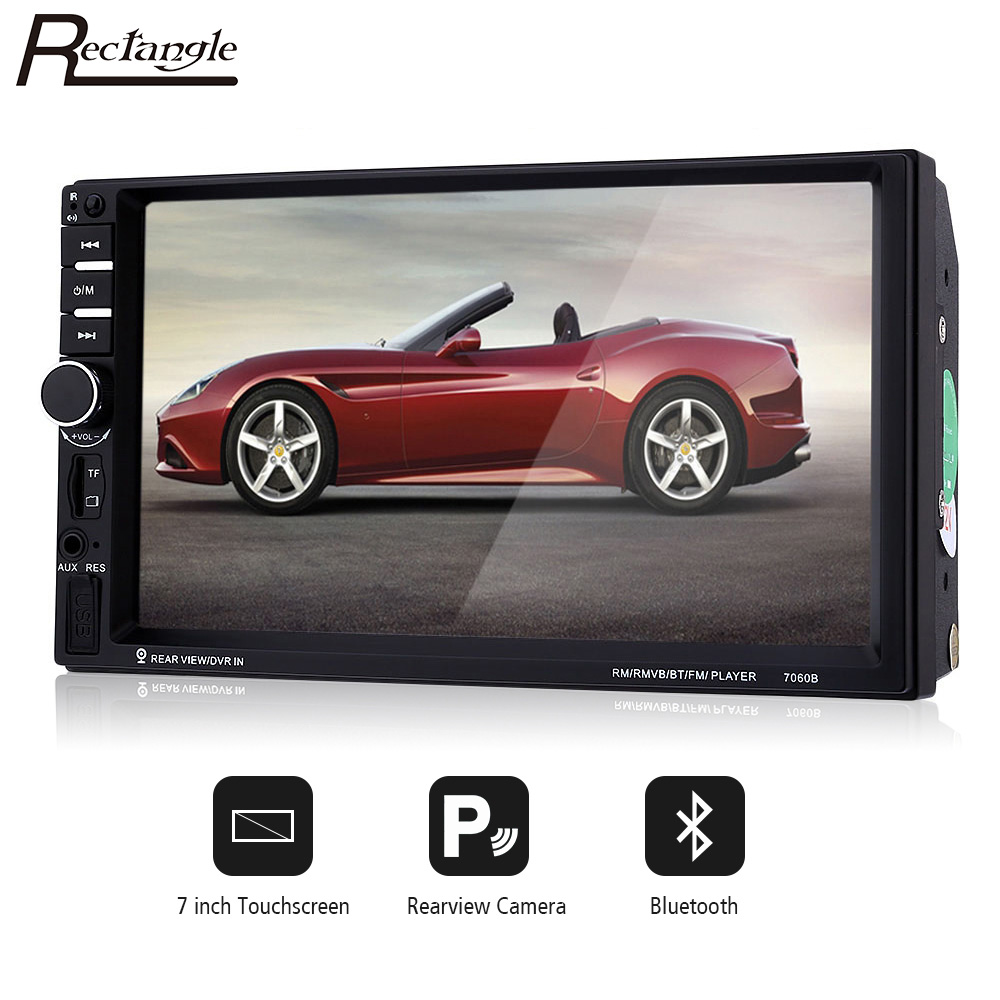 2Din 7inch Touchscreen Car MP5 Video Player 7060B Auto Audio Stereo Radio with Microphone Steering-wheel Control Rearview Camera