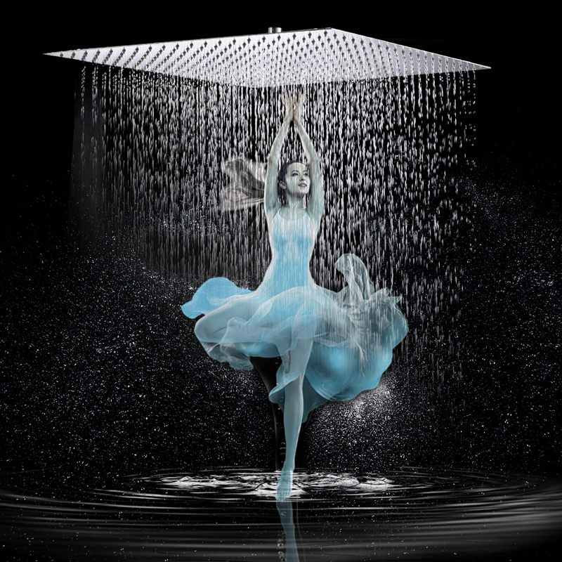Luxury 12 Rainfall Shower Head Chrome Finished Square Rain Bathroom Stainless Steel Showerhead
