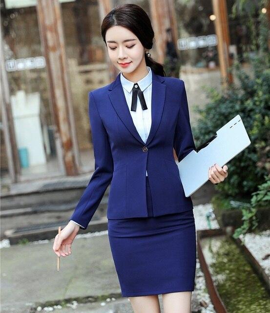 Formal Wanita Biru Blazer Wanita Bisnis Pakaian Kantor Resmi Bekerja  Memakai Seragam Rok dan Jaket Set 3a7a14d4fc