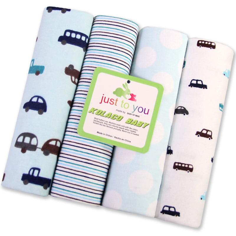 4 stk / pakke 100% bomull flannel mottar baby teppe 76 * 76cm nyfødt fargerik cobertor baby sengetøy supersoft teppe