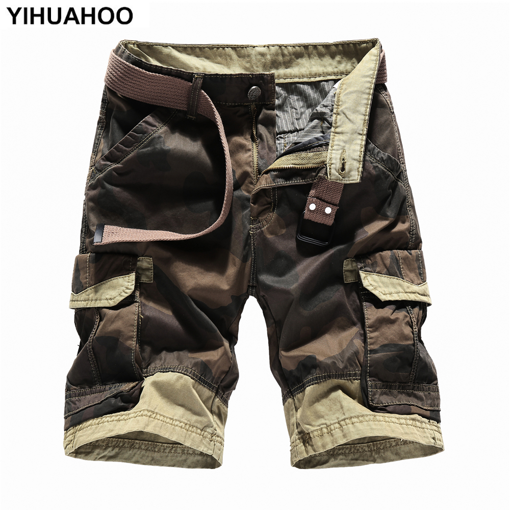 YIHUAHOO Summer Shorts Men 2018 Camouflage Casual Cotton Short Pants Military Trousers Pockets Bermuda Cargo Shorts JOB-5051