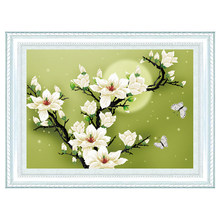 Needlework,DIY DMC Cross stitch,Sets For Embroidery kits,Precise Printed Magnolia Flowers Patterns 3D 5D Counted Cross-Stitching(China)