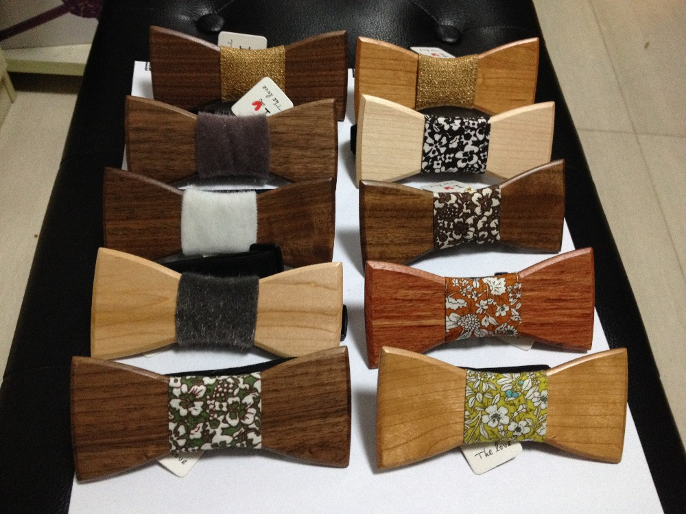 2015 Hot Sale European Fashion Personality Accessory Geometric Design Solid Good Wood Hip Hop Bow Tie For Men Butterfly Neck Tie