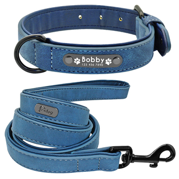 Personalized Leather Dog Collar Leash Set Customized 2 Layer For Small Medium Large Pitbull 2