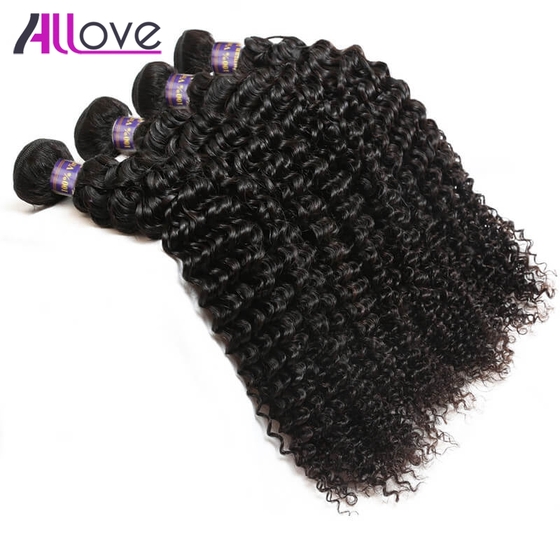 Allove Hair Peruvian Kinky Curly Hair Bundles 4Pcs/Lot Natural Color Remy Human Hair Weave Bundles Peruvian Curly Hair