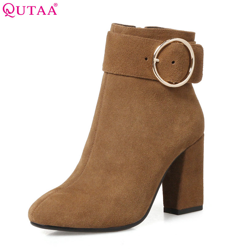 QUTAA 2018 Women Ankle Boots Square High Heel Fashion Buckle Pointed Toe Cow Suede Yellow Women Motorcycle Boots Size 34-43 qutaa 2018 women ankle boots cow suedezipper fashion pointed toe all match square high heel high quality women boots size 34 39